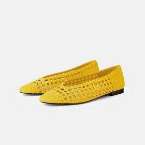NWT Zara Yellow Woven Ballerina Flats
